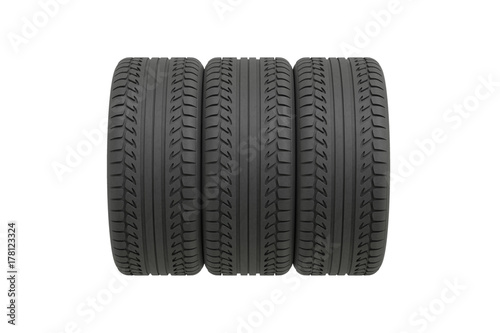© PixlMakr - Fotolia.com Three tyres on white background