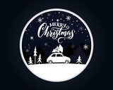 Papercut Christmas card with vintage car carrying a spruce on the top. Merry Christmas text on night scene.