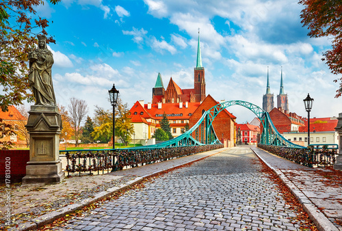 Cathedral Island in Wroclaw Poland green bridge with view - 178130120