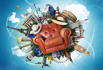 Leather chair on the background of the attractions