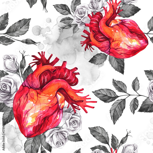 Watercolor seamless pattern, anatomic hearts with sketches of roses and leaves in vintage medieval style. Valentines day illustration. Tattoo art symbol of love. Gothic. Can be use in holiday design. - 178147733