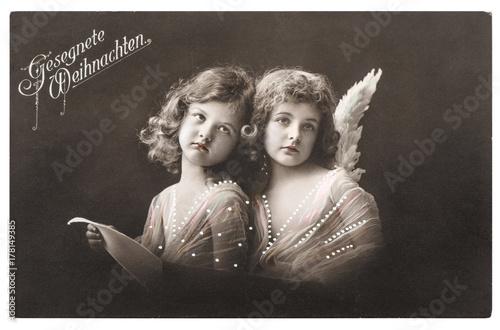 Angel girls white wings Christmas greetings card Poster