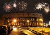 Fireworks over Colosseum, Rome, Italy - 178151140