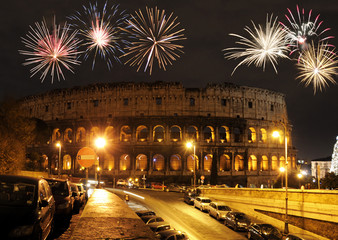 Fireworks over Colosseum, Rome, Italy