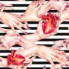 Watercolor seamless pattern, collection of girls hands holding anatomic hearts in realistic style on stripes. Gestures and hand touches. Human, body parts. Symbol of love. Valentines day.