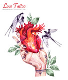 Watercolor hand holding anatomic heart with leaves and swallows in vintage medieval style. Valentines day illustration. Tattoo art symbol of love. Gothic, tarot poster. Ready for print. - 178154116