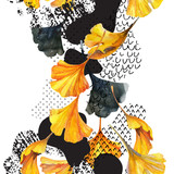 Drawing of ginkgo leaves, ink doodle, grunge, water color paper textures. - 178167700