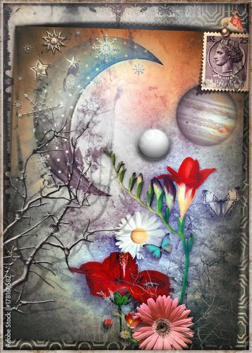Staande foto Imagination Collage surreale con luna stellata,fiocchi di neve,farfalle e fiori tropicali