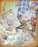 Sfondo vintage con vecchie mappe,carte,francobolli e itinerari di viaggio