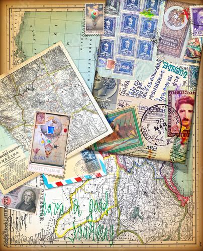 Papiers peints Imagination Sfondo vintage con vecchie mappe,carte,francobolli e itinerari di viaggio