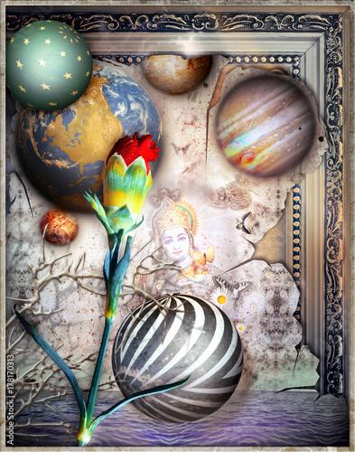 Staande foto Imagination Paesaggio fantastico e incantato con garofano rosso e mare