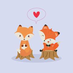 cute fox in love vector