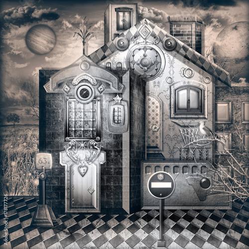 Staande foto Imagination Casa stregata. Notturno con bizzarre casette di periferia