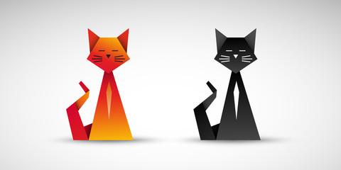 koty origami wektor