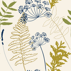 Floral vector seamless pattern with dill and lavender flowers, fern leaves and evergreen pine tree branches. © dinadankersdesign