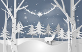 Christmas vector concept with white paper cut elements