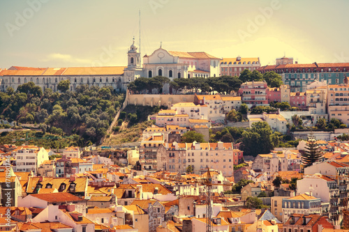 Beautiful view of Lisbon old city, Portugal Poster