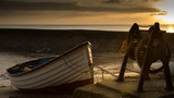 A rowing boat in the harbour at sunset - 178192775