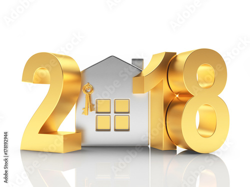 2018 New Year Golden Numbers And Silver House Icon Isolated On White Ilration