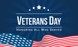Veterans Day Vector illustration, Honoring all who served, USA flag waving on blue background. - 178195180