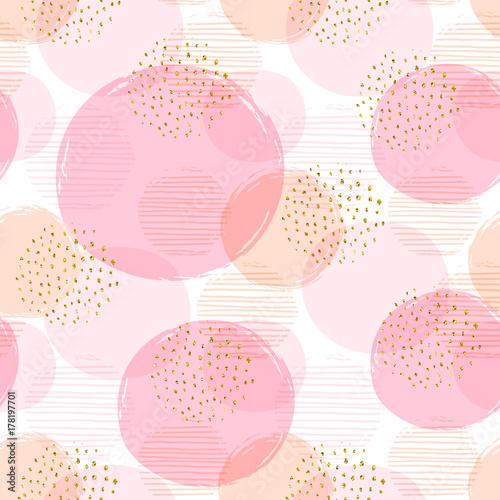 Fototapeta Abstract geometric seamless pattern with pink circles.