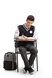 Teenage student sitting in a school chair and taking notes - 178212512