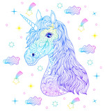 Head of hand drawn unicorn. - 178213300