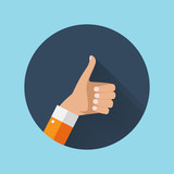 Flat Design Thumbs Up Icon Background . Vector Illustration - 178216552