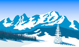 Winter landscape with silhouettes of mountains and forest. Snow and shadows. Vector illustration