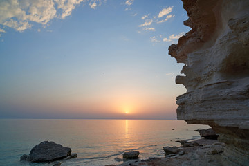 On the shore of the Caspian Sea/ The Caspian Sea is the largest enclosed inland water body on Earth by area.