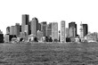 Boston skyline in black and white on a white background