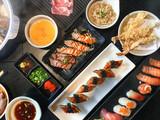 Top view set of japanese food sushi shabu and tempura - 178221748