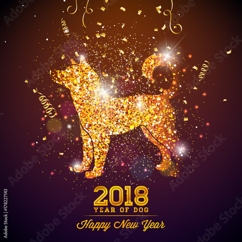 2018 Chinese New Year Illustration with Bright Symbol on Shiny Celebration Background. Year of Dog Vector Design. - 178227143