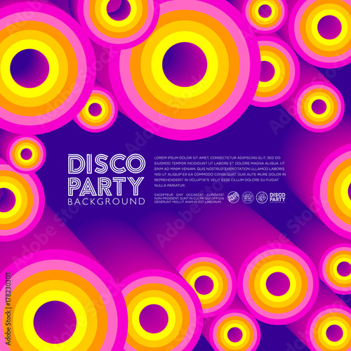 Fototapeta Disco composition. Poster or card. Colored circles and letters on a dark background.