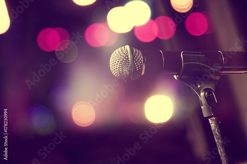 Fotobehang Muziek Microphone and stage lights.Concert and music concept