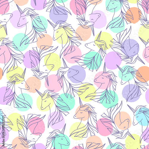 Cotton fabric Seamless pattern with unicorns.