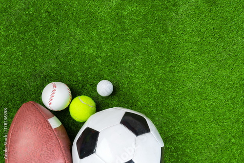 Poster Various sport tools on grass