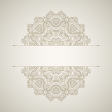 Template of oriental greeting card. Floral oriental pattern. Background with round lace ornament. - 178236737