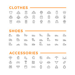 Set line icons of clothes, shoes and accessories