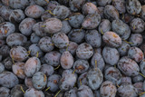 Plums on a market stall poster