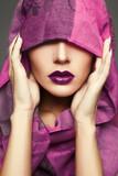 purple lips make-up girl.fashion beauty portrait
