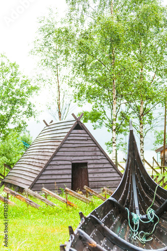 Part of old wooden viking boat in norwegian nature Poster