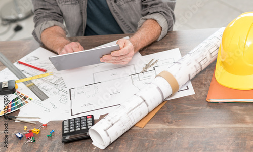 Architect working on plans