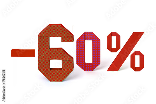 Origami text of discount sale 60 percent Poster