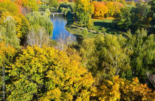 Fotobehang Meloen Autumn city park.