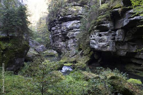 Foto op Canvas Lavendel Wild autumn Landscape around the Creek Kamenice in the Czech Switzerland with Sandstone Boulders, Czech Republic