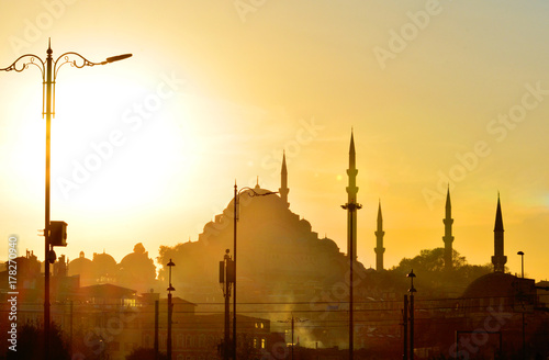 Cool backgound of scenic view of the mosque at sunset Poster