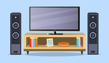 Design TV zone in a flat style. Interior living room with furniture, tv set and shelf. Vector illustration. EPS - 178276353