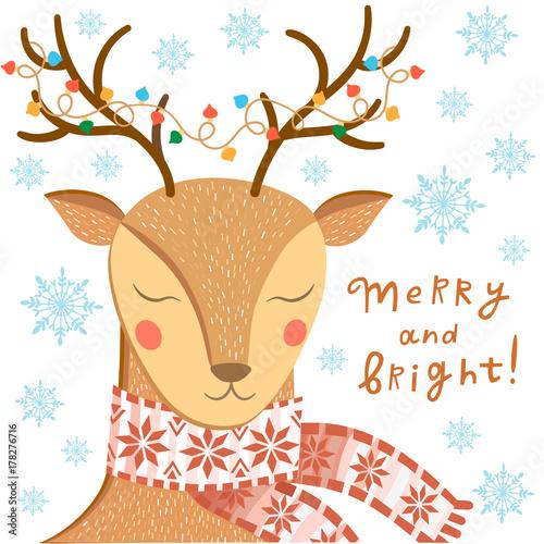 Aluminium Hipster Hert Vector Christmas greeting card with deer