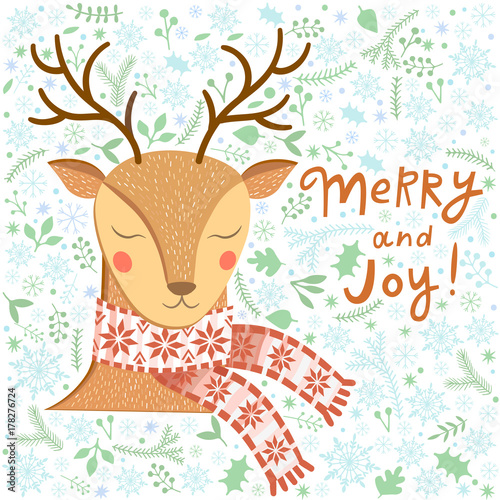 Fotobehang Hipster Hert Vector Christmas greeting card with deer